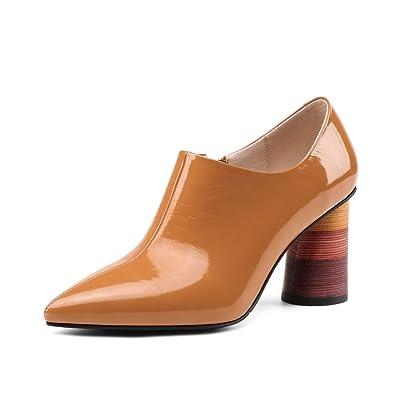 9bb226399fa Nine Seven Women s Chunky Heel Handmade Pumps 9.5 B(M) US Caramel ...