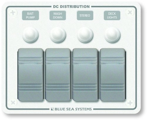 Contura Water Resistant 12V DC Circuit Breaker Panel - White 4 Position by Blue Sea Systems