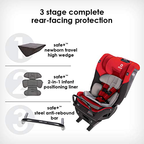 515Eig5zzZL - Diono Radian 3QX 4-in-1 Rear & Forward Facing Convertible Car Seat | Safe+ Engineering 3 Stage Infant Protection, 10 Years 1 Car Seat, Ultimate Protection | Slim Design - Fits 3 Across, Red Cherry