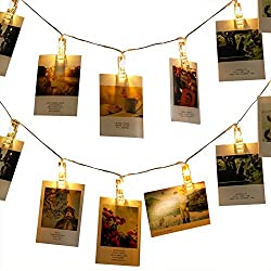 MZD8391 50 Photo Clips String Lights/Holder, Indoor Fairy String Lights for Hanging Photos Pictures Cards and Memos, Ideal gift photo clip holder Warm White