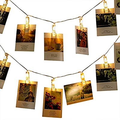 [Upgraded] 50 LED Photo Clips String Lights, MZD8391 Indoor Fairy String Lights for Hanging Photos Pictures Cards and Memos, Ideal gift for Dorms Bedroom Decoration (Warm White)