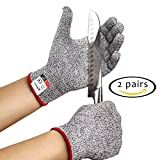 meat cut machine - Cut Resistant Gloves - 2 PAIRS Kitchen Set with FDA Food Grade Proof for Women and Men Cooking like a Chef - Level 5 Protection Kit for Cuttings from Slicing Machines and Fish Fillet Knives by Adepsia