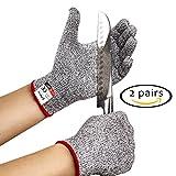 Cut Resistant Gloves - 2 PAIRS Kitchen Set - Medium Size for...