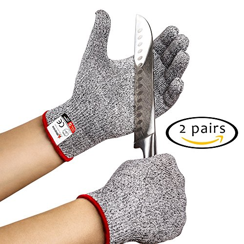 Cut Resistant Gloves - 2 PAIRS Kitchen Set - Medium Size for Women and Men Cooking like a Chef! Level 5 Protection for Slicing Machine and Fish Fillet Knife Cuttings - FDA Food Grade Proof by Adepsia