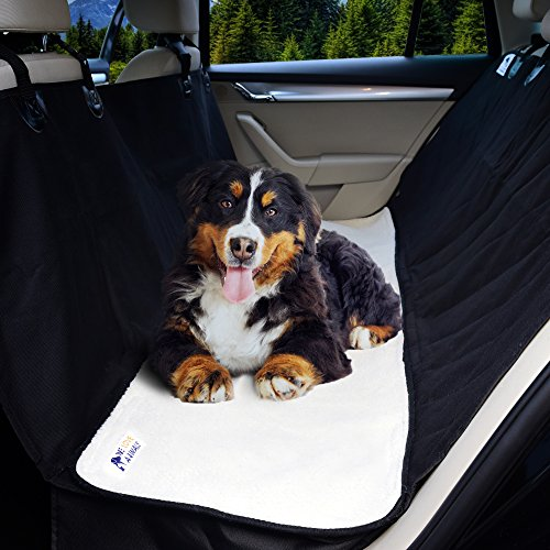 Pet Car Seat Cover by WE LOVE ANIMALS, Dog Seat Cover for Cars, SUVs, and Trucks, Convertible Black Hammock Bench Protector with Waterproof, Nonslip Backing, Side Flaps, Plus Free Dog Fleece Blanket