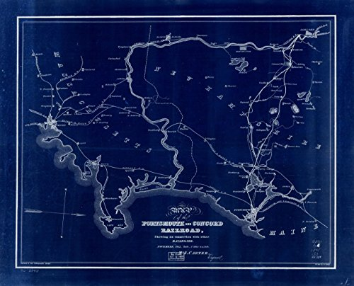 24 x 32 Blueprint Style reprint 1845 Map of the Portsmouth and Concord Railroad, shewing its connection with other railroads. by Carter, T. J. - J.H. Bufford & Co. - Map Maine Concord