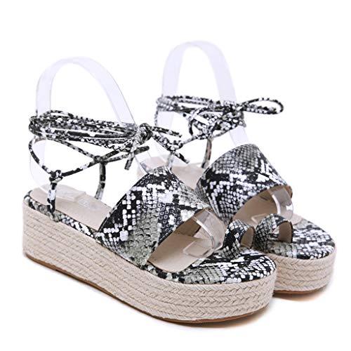 2019 Sharemen Casual Sandals Roman Shoes Straps Wedge Shoes Leopard Toe Thick Platform Women's Shoes(Black,US: 5) by Sharemen Shoes (Image #5)