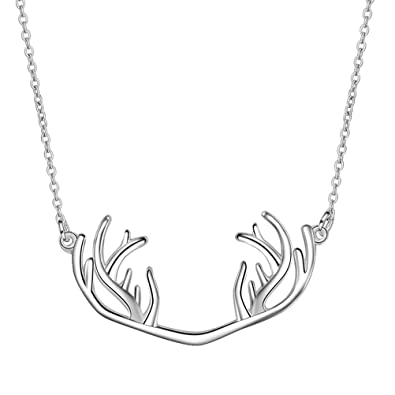 8fffdd5b198 Buy Elk Antlers Necklace Delicate Silver Necklace with Thin Collarbone Chain  Animal Pendant Jewelry Online at Low Prices in India   Amazon Jewellery  Store ...
