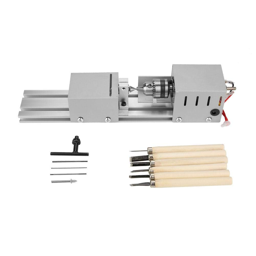 koulate Mini Lathe Beads Machine Woodworking Lathe Beads Polisher Machine Jewelry Beads Polishing Grinding Machine DIY Woodworking Craft Drill Tool DC 24V 50W by koulate