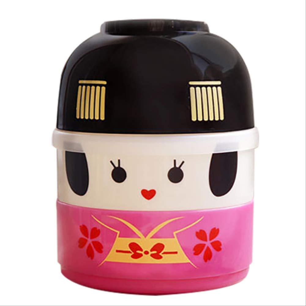 yingtengklk Simpatico Pranzo al Sacco per Bambini Bento Doll Giapponese Bento Box Picnic Bambini Forno a microonde Contenitore per Alimenti Thermos 1C