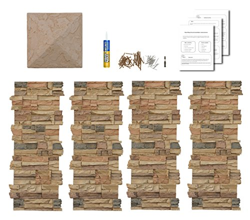 Amazon.com : Faux Stone Column Wraps With Easy Install Kit   Pole Wrap,  Post Covers (Canyon Gray) : Garden U0026 Outdoor