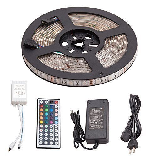 16.4ft 5M Waterproof Flexible Strip Lighting 300led RGB SMD5050 LED Light Strip Kit 5M+44Key Remote+12V 5A Power Supply (Flexible Led Lighting compare prices)
