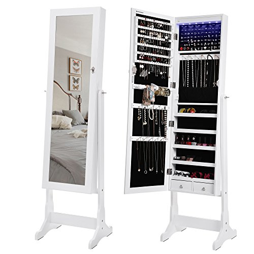 SONGMICS 6 LEDs Jewelry Cabinet Large Mirrored Jewelry Armoire Organizer with 2 Drawers White, Sturdy and Stylish (2 Drawer Mirrored Armoire)