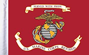 """Pro Pad Sleeved 6""""x9"""" Retired Marine Corps Motorcycle Flag"""