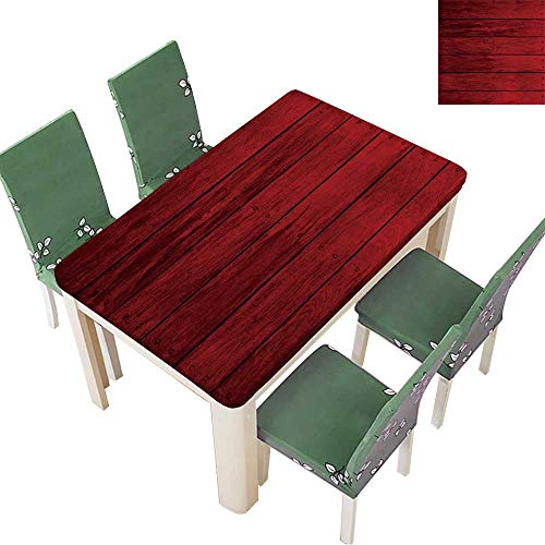 (Printsonne Solid Tablecloth Wooden Interior Table Cover 54 x 72 Inch (Elastic Edge))