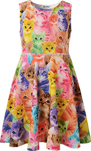 Jxstar Little Girl's Classical Animals Fashion Printed Sleeveless Dress Cat 150