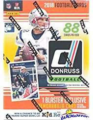 2018 Donruss NFL Football EXCLUSIVE HUGE Factory Sealed Retail Box with MEMORABILIA Card & ONE ROOKIE Per Pack! Look for RC's & Auto's of Baker Mayfield, Saquon Barkley, Josh Allen & More! WOWZZER!