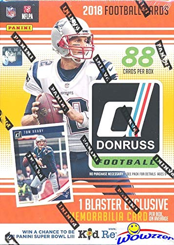 (2018 Donruss NFL Football EXCLUSIVE HUGE Factory Sealed Retail Box with MEMORABILIA Card & ONE ROOKIE Per Pack! Look for RC's & Auto's of Baker Mayfield, Saquon Barkley, Josh Allen)