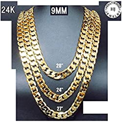 Hollywood Jewelry 24K Gold chain necklace 9MM Shinny for Men Hip hop Women w/ USA Made (20)