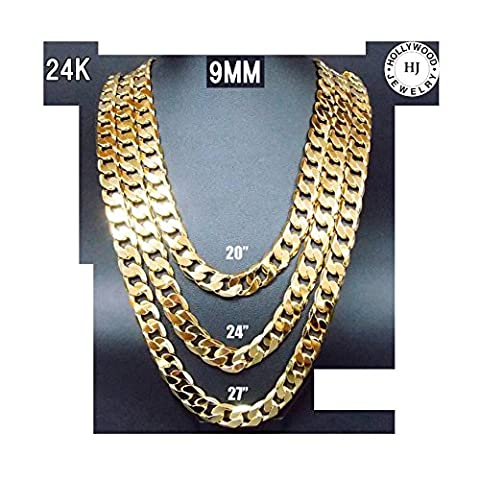 Hollywood Jewelry 24K Gold chain necklace 9MM Shinny for Men Hip hop Women w/ USA Made (20) (24k Gold Necklace Solid)