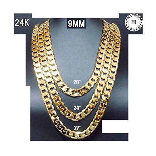24K Gold chain necklace 9MM Shinny Cuban link for Men Hip hop Women w/ USA Patented (30) by Hollywood Jewelry