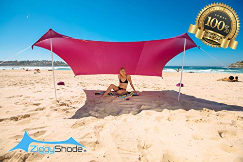 (ZiggyShade Family Beach Sunshade - Lightweight Sun Shade Tent with Sandbag Anchors & 4 Free Pegs | UPF50+ UV Quality Lycra Fabric | Large & Portable | Canopy for Parks & Outdoor)