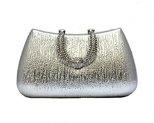 and Purse Clutch Hard Party Handle with Silver Glitter for Pulama Womens Clasp Wedding Rhinestone AHXqqz