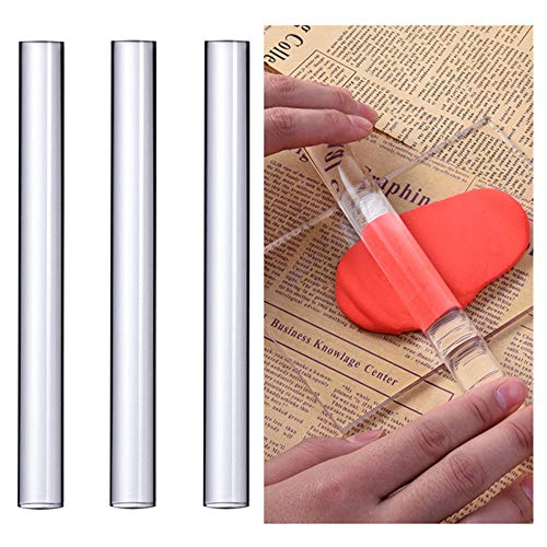 Hofumix Fondant Rolling Pin Clay Roller Small Acrylic Roller Non-stick Clear Kids Rolling Pin DIY Kitchen Tools for Baking Handcraft Fondant, Pie Crust, Cookie, Pastry Dough 3Pcs