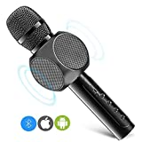 Wireless Bluetooth Karaoke Microphone with Dual Speaker, ERAY Protable KTV Home Party Singing Music Player for iPhone Android Smartphone PC iPad (Black)