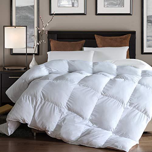 L LOVSOUL Down Alternative Comforter (White,King) - Ultra Soft Brushed Microfiber - Hypoallergenic Plush Mircofiber Comforter Duvet Insert(106x90 inches)