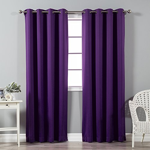 - Best Home Fashion Thermal Insulated Blackout Curtains - Antique Bronze Grommet Top - Purple - 52