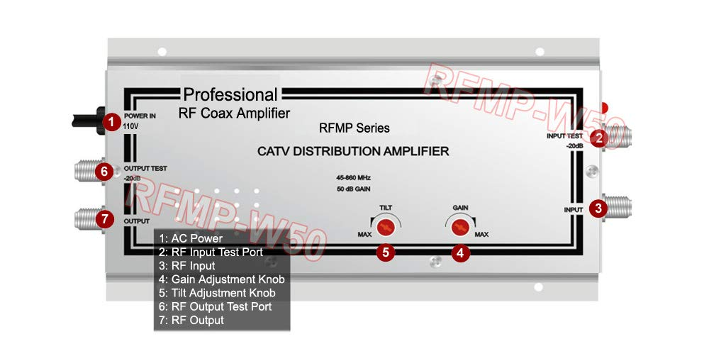 Commercial-Grade RF Cable TV Signal Amplifier with High 50dB Gain for Professional Use