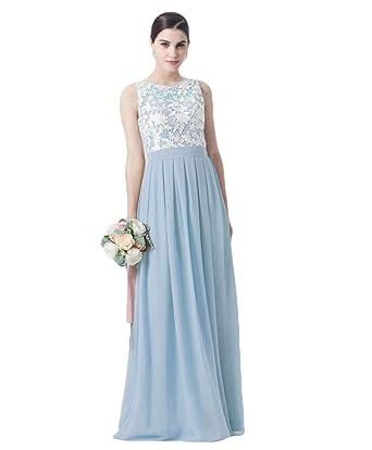 4003901ed57a Liyuke Elegant Lace Top Bridesmaid Dress Long Chiffon Sleeveless Wedding  Party Gowns Aqua US 2