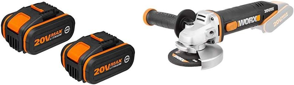 Worx WA3553.2 Baterías, 80 W, 20 V, Negro, Set de 2 Piezas + WX800.9Amoladora Angular Radial 115mm 20V, 8600RPM, 1 Disco de Corte Metal, 20 V