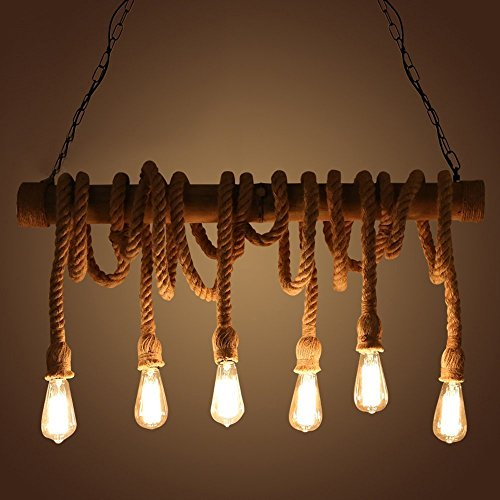 NIUYAO Industrial Vintage Pendant Chandelier Lighting Natural Hemp Rope Bamboo Edison LED Antique Retro Loft Island Pendant Lamp Hanging Light Ceiling Fixture with 6 lights