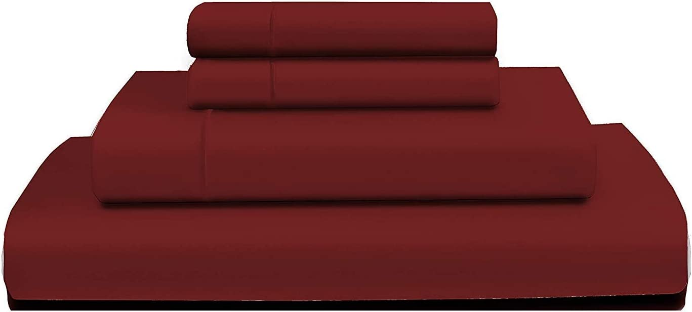 "RENAURAA 1000 Thread Count Extra Long Staple 100% Cotton Sheet Set,4 Piece Set, Sateen Weave, Hotel Collection Soft Luxury Bedding, Fits Upto 16"" Deep Pocket (Burgundy, Queen)"