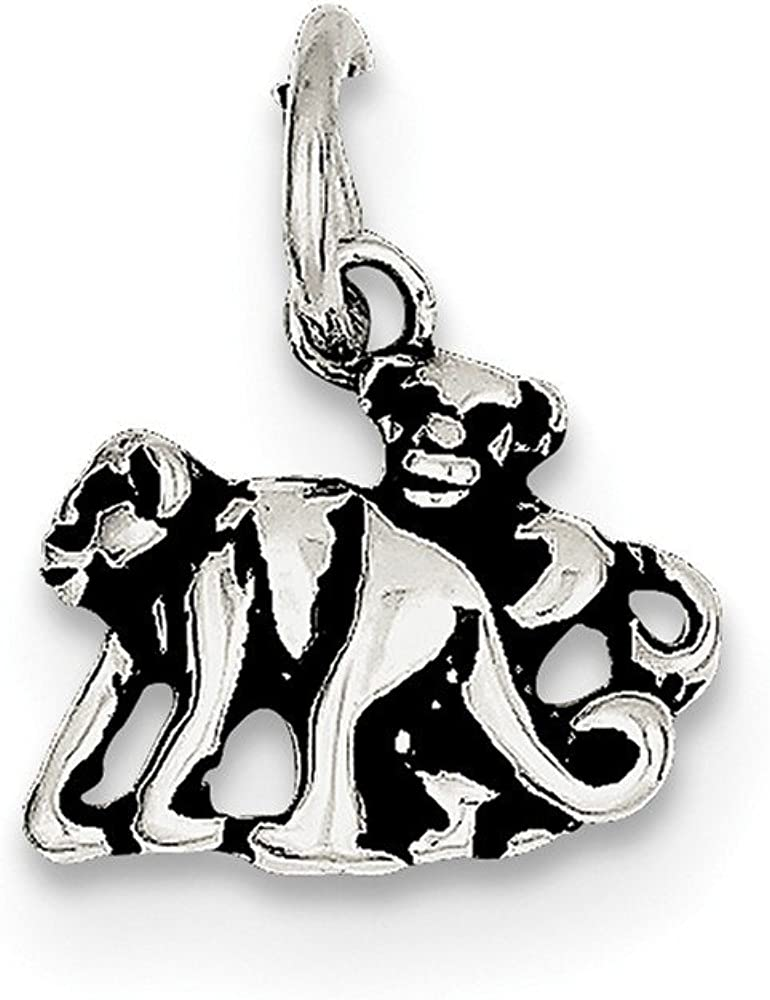 12mm x 13mm Mia Diamonds 925 Sterling Silver Solid Antiqued Monkey Charm