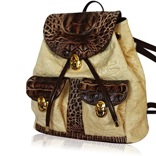 03c2d25665 Marino Orlandi Italian Designer Blonde Beige Rose Embossed Leather Backpack  Bag