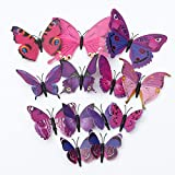 "12PcsX 1Color Art Decal Girls Home Room Wall Stickers 3D Butterfly Decorations Decors""Purple Color"" Set14"
