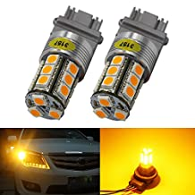2-Pack 3157 3047 3057A Extremely Bright Amber / Yellow LED Light,12V-DC AMAZENAR Imported 5050 Chipset 18 SMD 3157A Base Dimmable Replacement For Tail BackUp Bulb Brake Turn Signal Light Parking Lamps