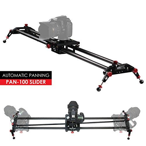 Kamerar 39.4 inch / 100 cm Pan-100 Track Motion Rail Stabilization DSLR Camera Slider: Light Carbon Fiber Rail, Adjustable Legs, Angle Follow Focus, Parallax Slide, Panoramic Slide by Kamerar