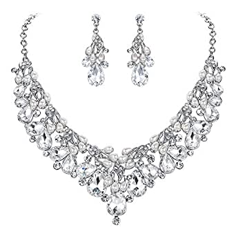 Clearine Women's Wedding Bridal Crystal Cream Simulated Pearl Floral Leaf Collar Necklace Dangle Earrings Tennis Bracelet Set Clear Silver-Tone
