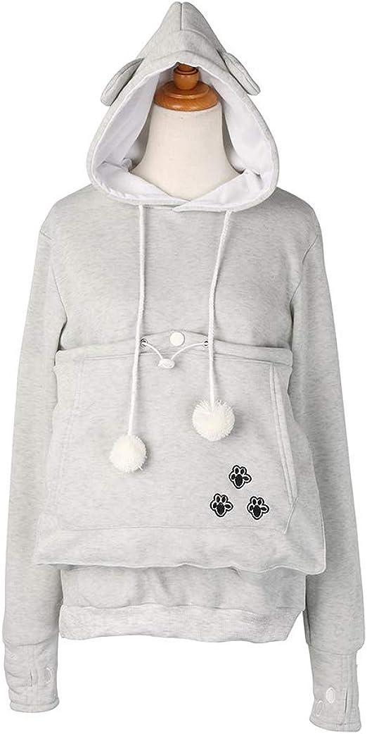 Long Damen Kapuzenpullover Tasche Sweatshirt Juleya Mit Und Sleeve Herbst Katzehund Hoodie Pullover Winter QWrodCBex
