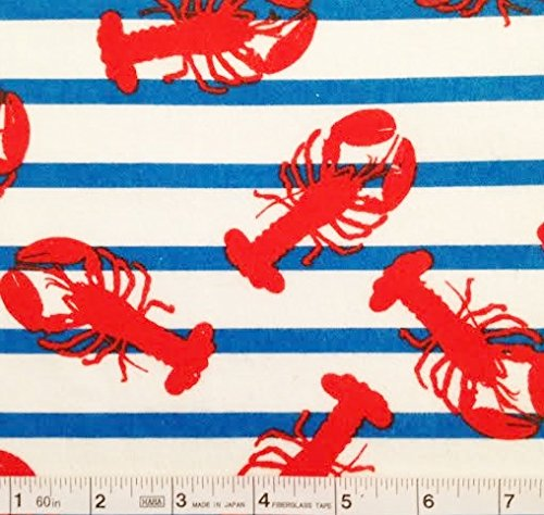 d Lobsters on Blue Striped Flannel Fabric (Great for Quilting, Sewing, Craft Projects, Blankets, Throw Pillows & More) 1 Yard x 44