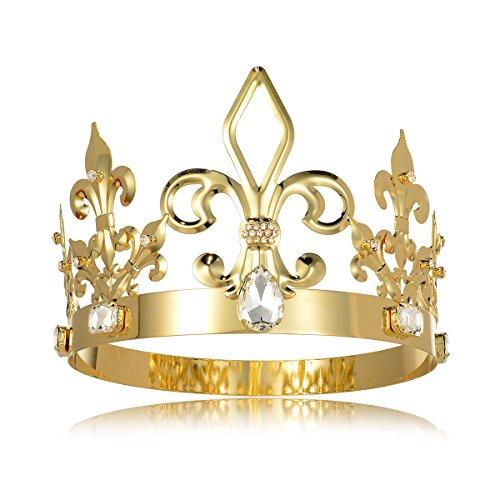 DcZeRong King Crown Costume Full Round Metal Crystal Tiara Men Birthday Prom Homecoming King Crowns (Prom Crowns Men)