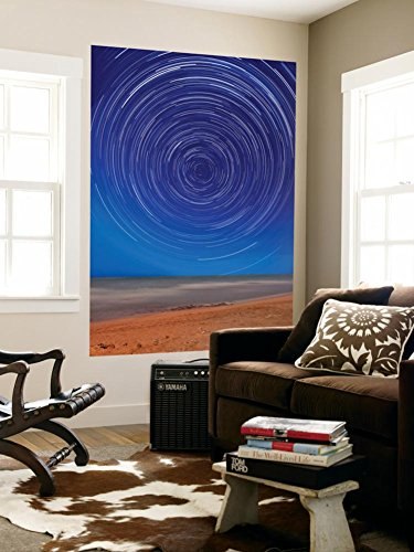 Star Trails around the South Celestial Pole at the Beach in Miramar, Argentina Wall Mural by Stocktrek Images 48 x 72in - South Celestial Pole