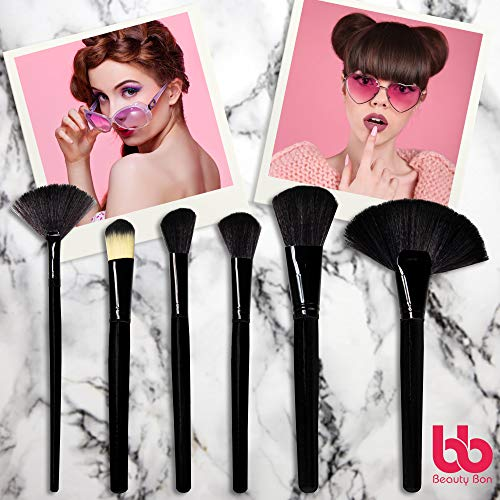 Professional Cosmetic Makeup Brushes Set - Beauty Make Up Face Kit Eyeshadow Foundation Eyeliner Bronzer Concealer Contour Brush for Blending Powder & Cream With Organizer Holder Case 24 Piece Black