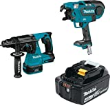 "Makita XRH01Z 18V LXT Lithium-Ion Brushless Cordless 1"" Rotary Hammer, accepts SDS-PLUS bits, XRT01ZK 18V LXT Lithium-Ion Brushless Cordless Rebar Tying Tool, & BL1840B 18V LXT Li-Ion 4.0Ah Battery"