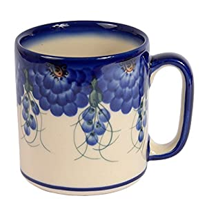 Boleslawiec Style, Traditional Polish Pottery, Handcrafted Ceramic Roller Mug (400 ml), Pattern, Q.201.ARTS