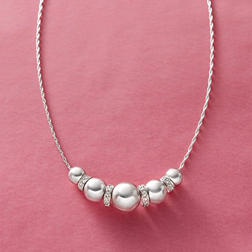 Ross-Simons 6-10mm Sterling Silver Bead Necklace With .20 ct. t.w. Diamonds by Ross-Simons (Image #8)